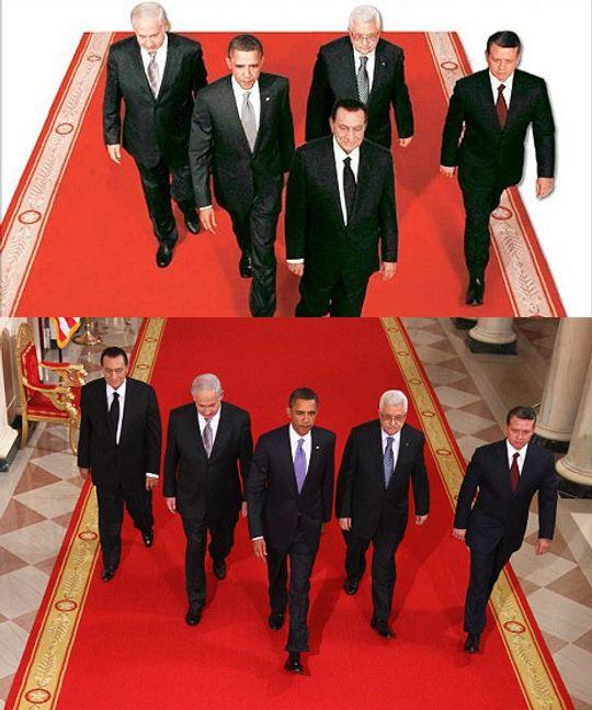 Var misfornøyd med å gå bakerst: Mubarak beordret å bli limt inn fremst i rekken.