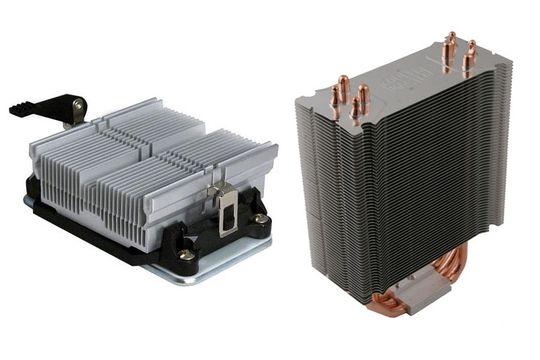 Solid kjøler til venstre, varmerør til høyre