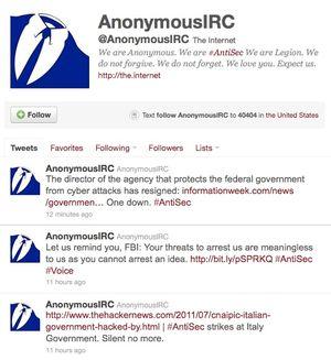Kort tid etter hackingen la Anonymous ut en tweet om dette.