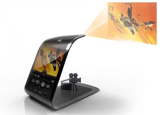 Som det ikke var nok med en gigantisk skjerm du kan bøye som du vil, er telefonen også utstyrt med en liten prosjektor i enden.