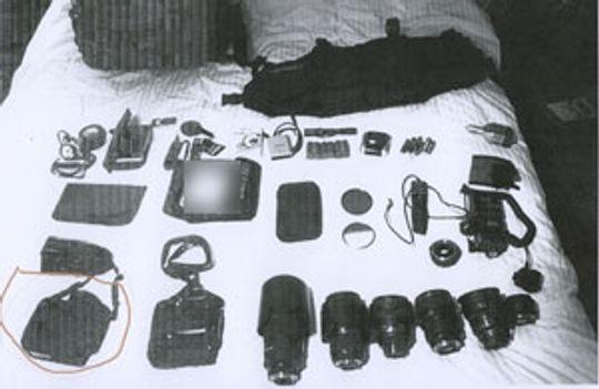 Offer for tyveri: Det var dette utstyret fotografen ble frastjålet under et fotooppdrag ifjor. Verdien skal ha vært på rundt 9000 dollar.