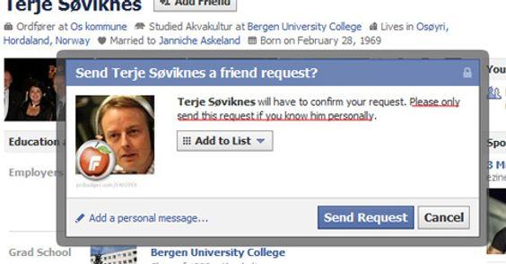 Facebook vil ikke at du skal bli venner med folk du ikke kjenner.