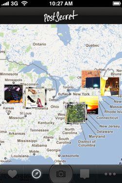 Slik vises postkortene på kartet.