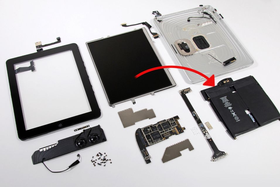 Her er batteripakken til iPad, som Apple angivelig har lyst til å bytte ut. (Foto: ifixit)
