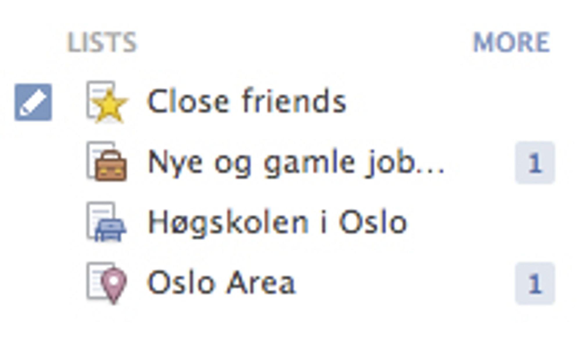 Vennelistene du oppretter blir vist på venstresiden med selvforklarende ikoner.