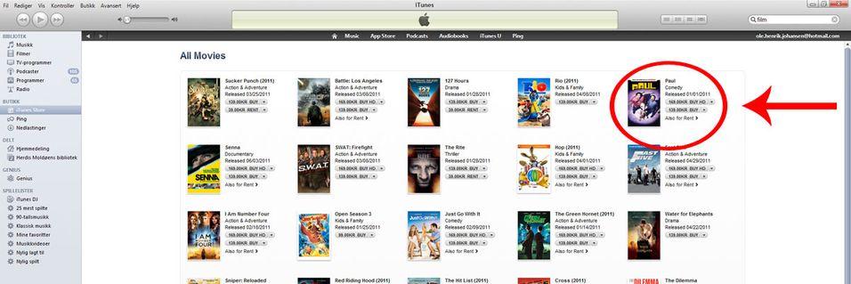 Nå kan du kjøpe og leie film med iTunes