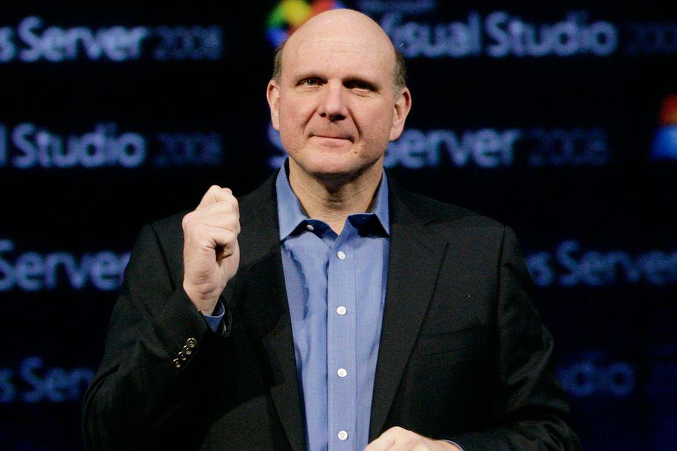 Helt sjef: Steve Ballmer har drøye 90 000 ansatte, og de skal ha visstnok ha det bra...