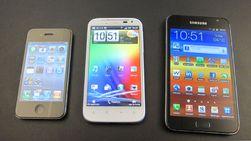 iPhone 4 blir liten ved siden av HTC Desire XL, som blir liten ved siden av Samsung Galaxy Note ...