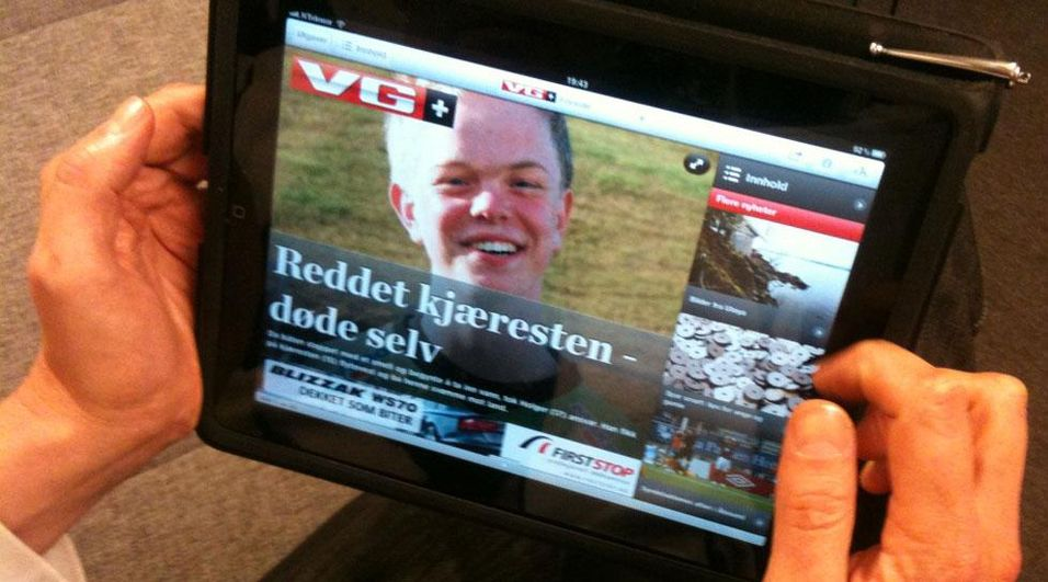 Faksimile av mandagens kveldsutgave av iPad-appen til VG+. Foto: ABC Nyheter