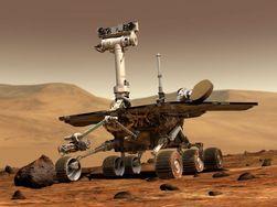 OPPORTUNITY: En datagenerert tegning av Opportunity i aksjon på Mars. Foto: NASA
