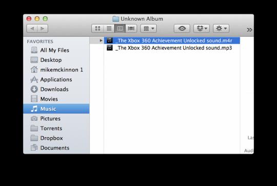 Etter du har trykket på «Create AAC version» vil en .m4a-versjon av filen dukke opp. Det er denne du skal gjøre om til en ringetone.