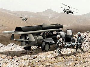 AMBISIØST PROSJEKT: Den flygende humvee-en skal kunne fly opp til fire personer i tillegg til utstyr 400 kilometer på én tank, ta av og lande vertikalt og flys av en soldat uten at han eller hun trenger pilotutdanning.