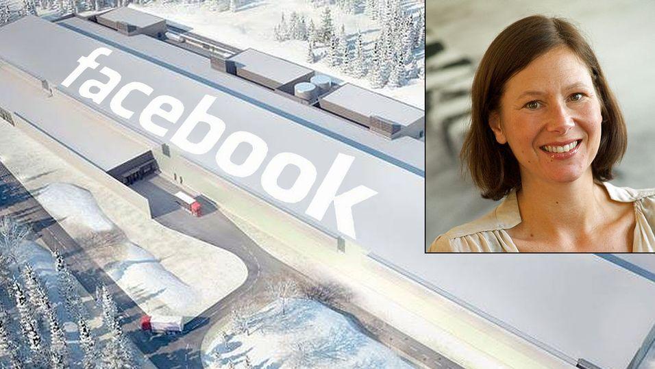 Illustrasjon av Facebooks nye anlegg i Sverige. Maria Angell-Dupont fra IKT-norge innfelt. Foto: Pressebilde og IKT Norge.