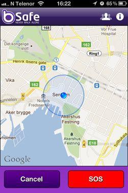 På kartet kan du zoome inn slik at du ser ganske nøyaktig hvor brukeren befinner seg.