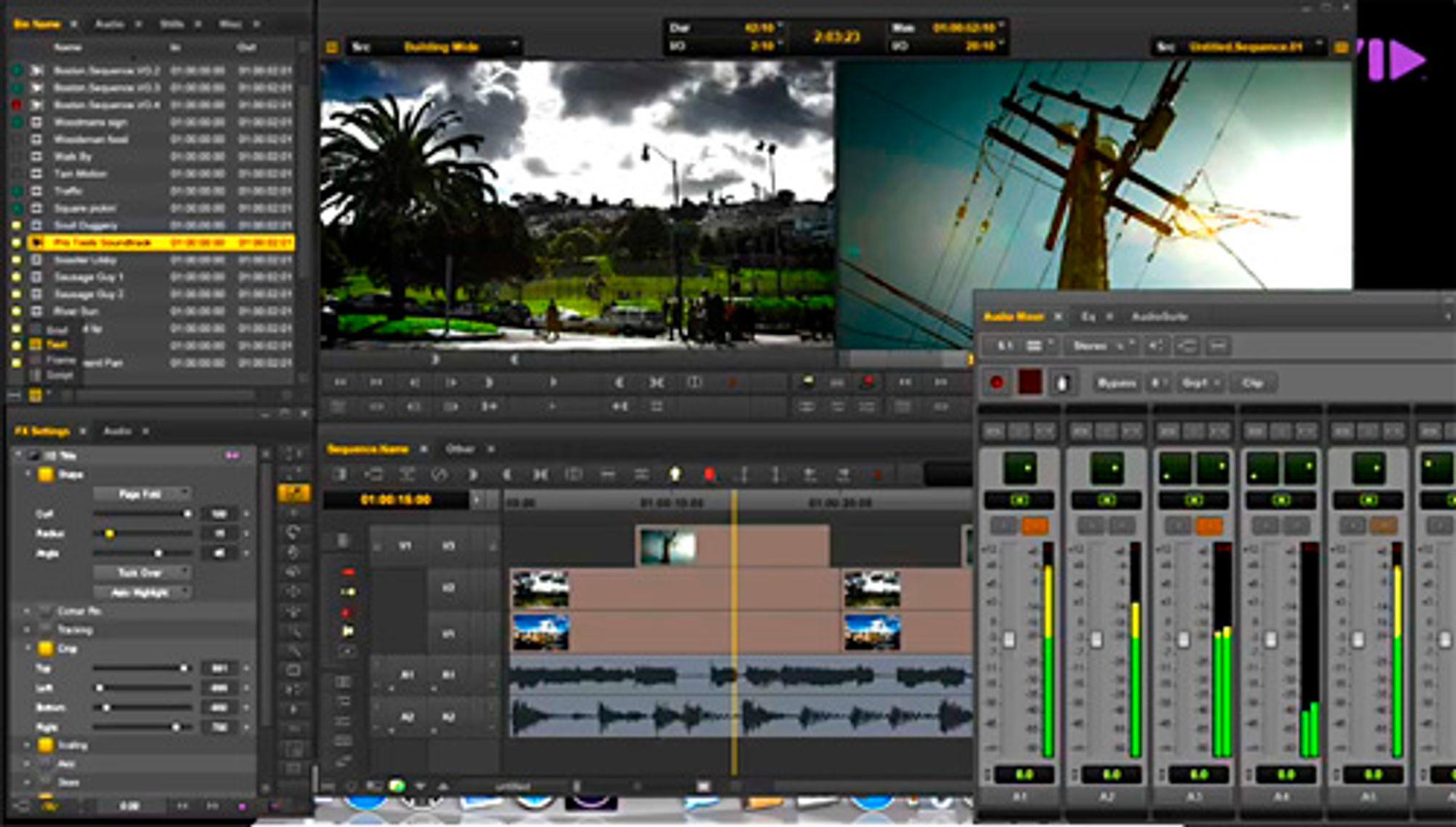 Skjermdump fra Media Composeres nye grafiske brukergrensesnitt.