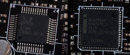 Realtek ALC889 audiokontroller til venstre, Intel WG82583V nettverkskontroller til høyre.