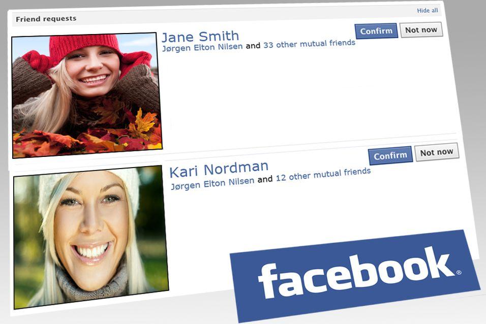 Fine bilder og falske navn lurer mange til å godkjenne venneforespørsler på Facebook. (Illustrasjonsbilde)