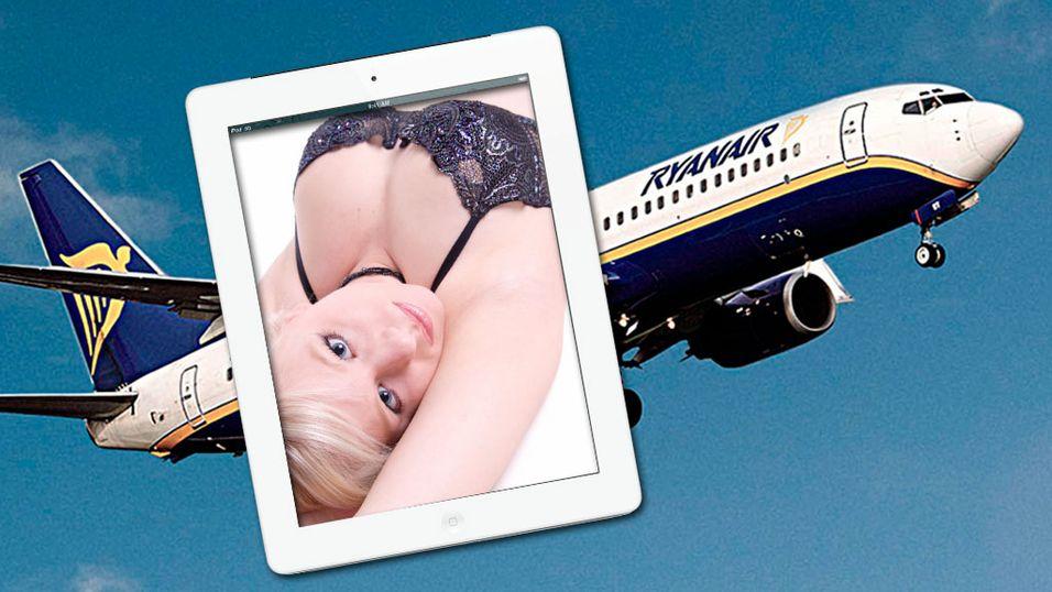 Om Ryanair-sjefen får det som han vil, kan kundene snart se erotiske filmer på iPaden sin under flyturen. (Montasje: Ryanair/Apple/Istockphoto)