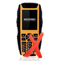 Simonsen F510 Freeway er den eneste norske telefonen i testen.