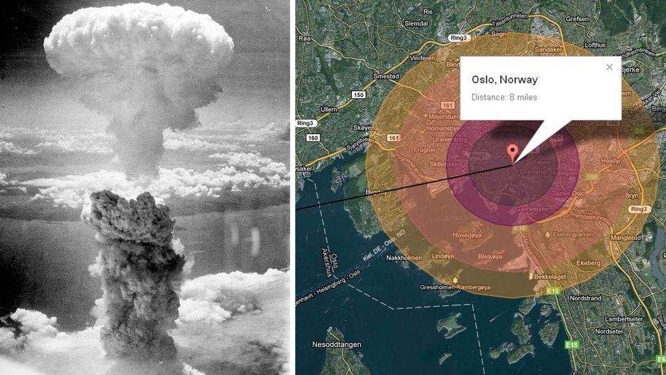 ATOMBOMBE: Effekten av nagasakibomben «Fat Man» overført til Oslo. På nettsiden WouldISurviveANuke.com kan du sjekke om du ville overlevd en eksplosjon i nærheten av der du bor.