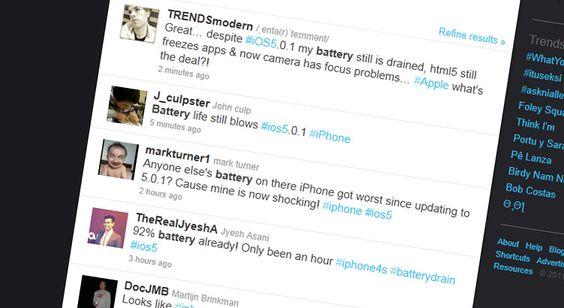 Om du søker etter ios5 og battery på Twitter er dette noen av søkeresultatene du får.
