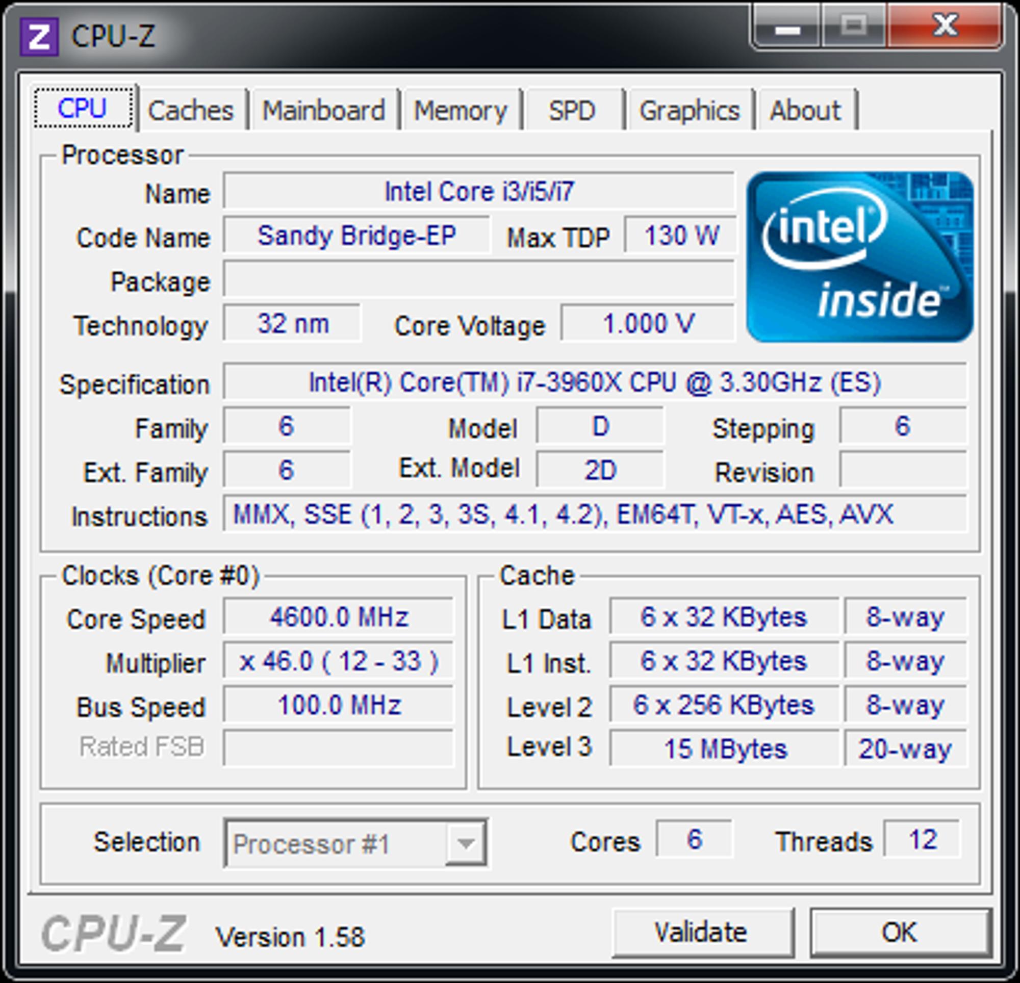 Programmet CPU-Z hadde noe problemer med å gjenkjenne prosessoren.