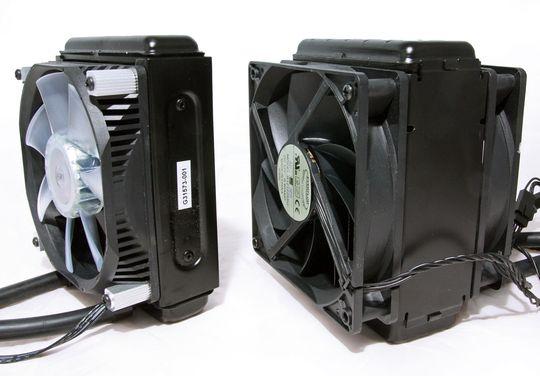 Radiatorer: For Intel Core i7 3960X til venstre, for AMD FX-8150 til høyre.