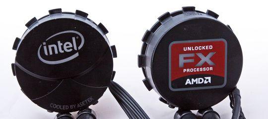 Kjølehoder: Intel til venstre, AMD til høyre.