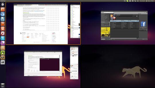 Ubuntu gjør det veldig enkelt å bruke flere skrivebord, å flytte programmene fram og tilbake. Sånt liker vi!