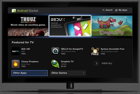 Googles nye grensesnitt for TV-er vil la deg kjøpe og laste ned apper fra Android Market.