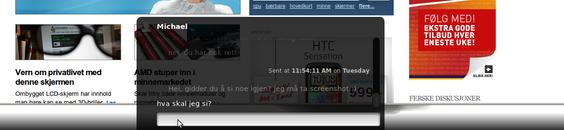 Varslinger dukker opp på bunnen av skjermen, og man kan svare direkte i varslingen hvis du ikke vil bytte fokus.