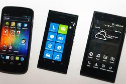 Her er Prada by LG helt til høyre, ved siden av Nokia Lumia 800 og Samsung Galaxy Nexus.