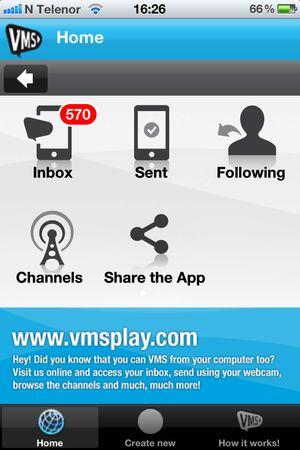 Slik er menyen i VMS-appen (iPhone)