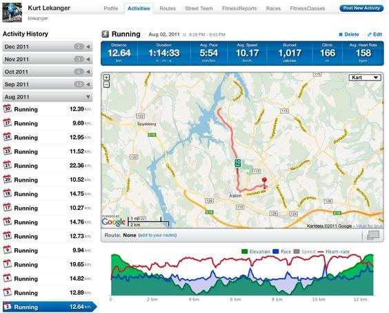 Med en pulsmåler tilkoblet mobilen får du oversikt over både fart (blå graf), distanse og puls (rød graf). Skjermbildet viser nettsiden til Runkeeper-appen.