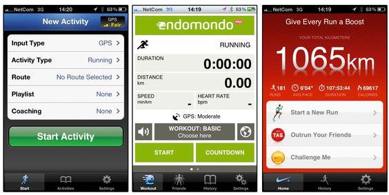 Runkeeper og Endomondo kommer ut best i vår test av treningsapper, mens Nike+ (lengst til høyre) har forbedringspotensiale.