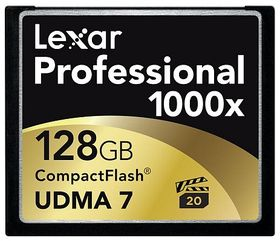 Lexar 128GB Professional 1000x CompactFlash. Dyrt, men godt.