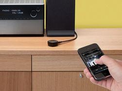 Den lille mottakeren fra Belkin kan brukes med alle nye mobiltelefoner. Du kan godt skjule den bak anlegget.
