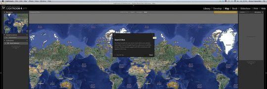 Slik ser kart-modulen til Lightroom 4 ut.