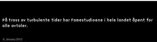 På Fame Fotografenes-hjemmesider kunne man onsdag kveld lese denne beskjeden. FOTO: Skjermdump, www.fame.no