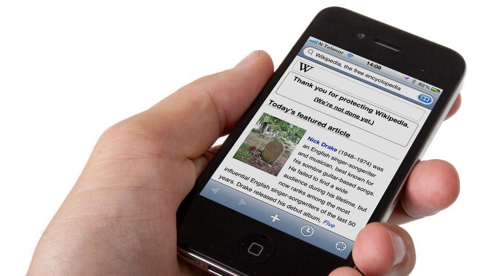 Wikipedia-appen på iPhone har ikke like mange muligheter som Android-versjonen. Du kan for eksempel ikke veksle språk. (Foto: Kurt Lekanger)