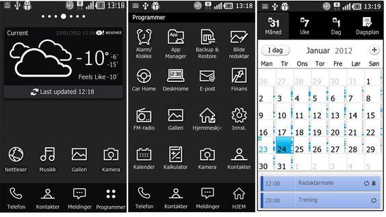 Fra venstre mot høyre: Startskjermen, appskjermen og kalenderen. Det meste er holdt i svart/hvitt, med unntak av når du befinner deg inne i enkelte apper.